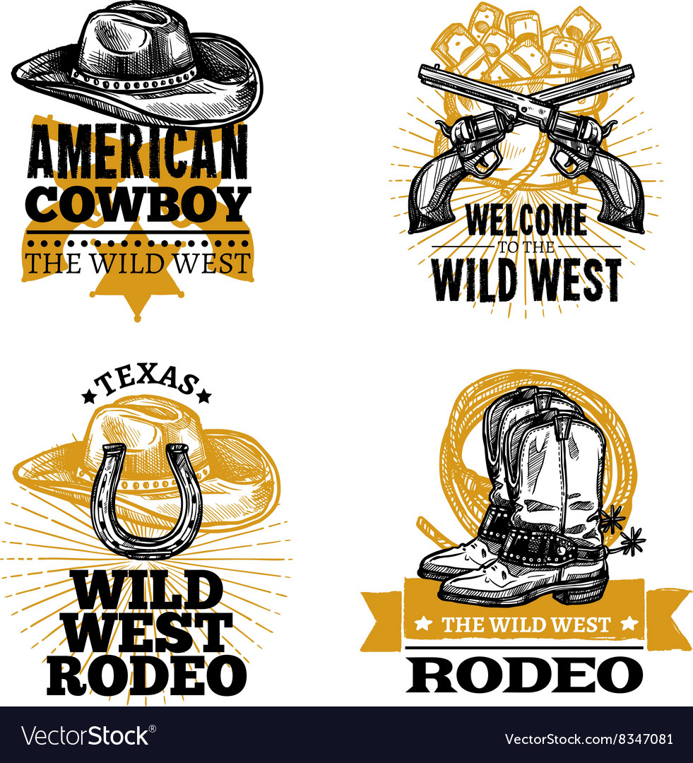 Cowboy retro emblems vector