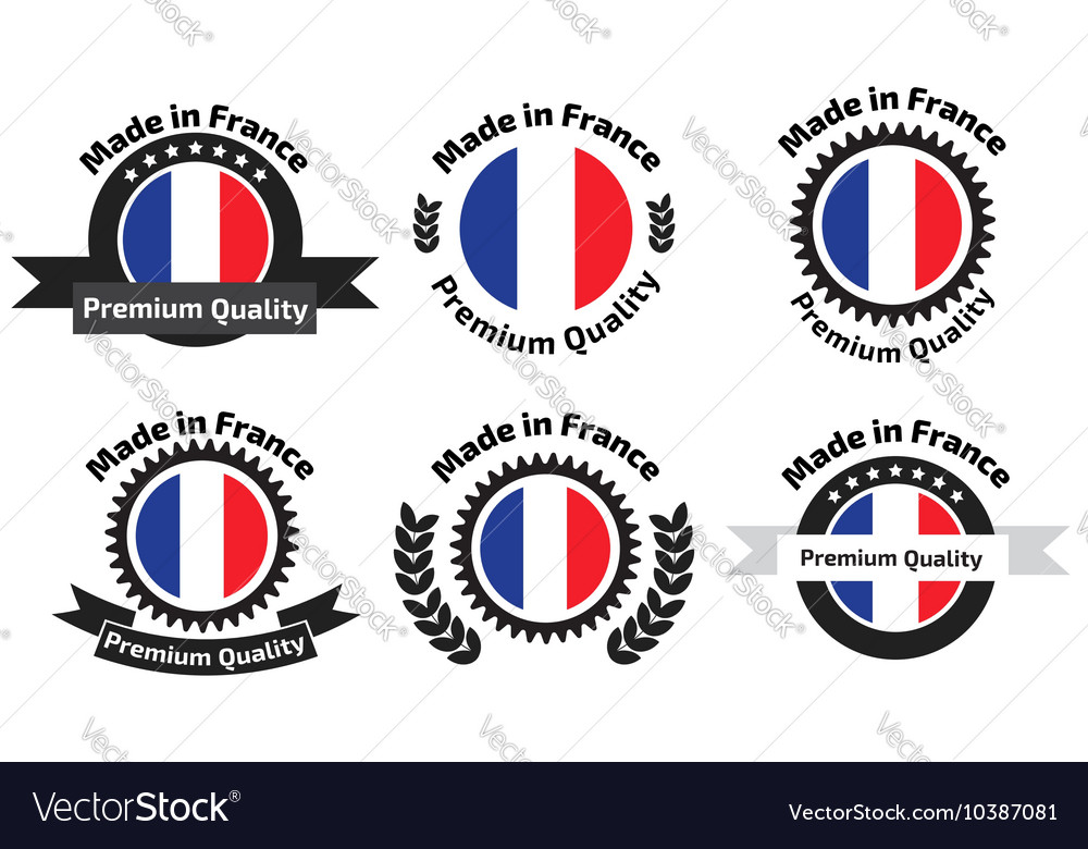 Made in franse badges set vector