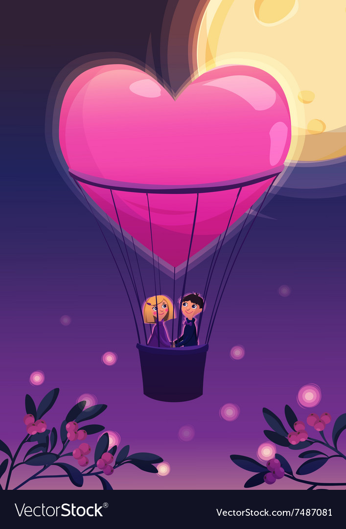 Two lovers in a balloon on the moon background vector