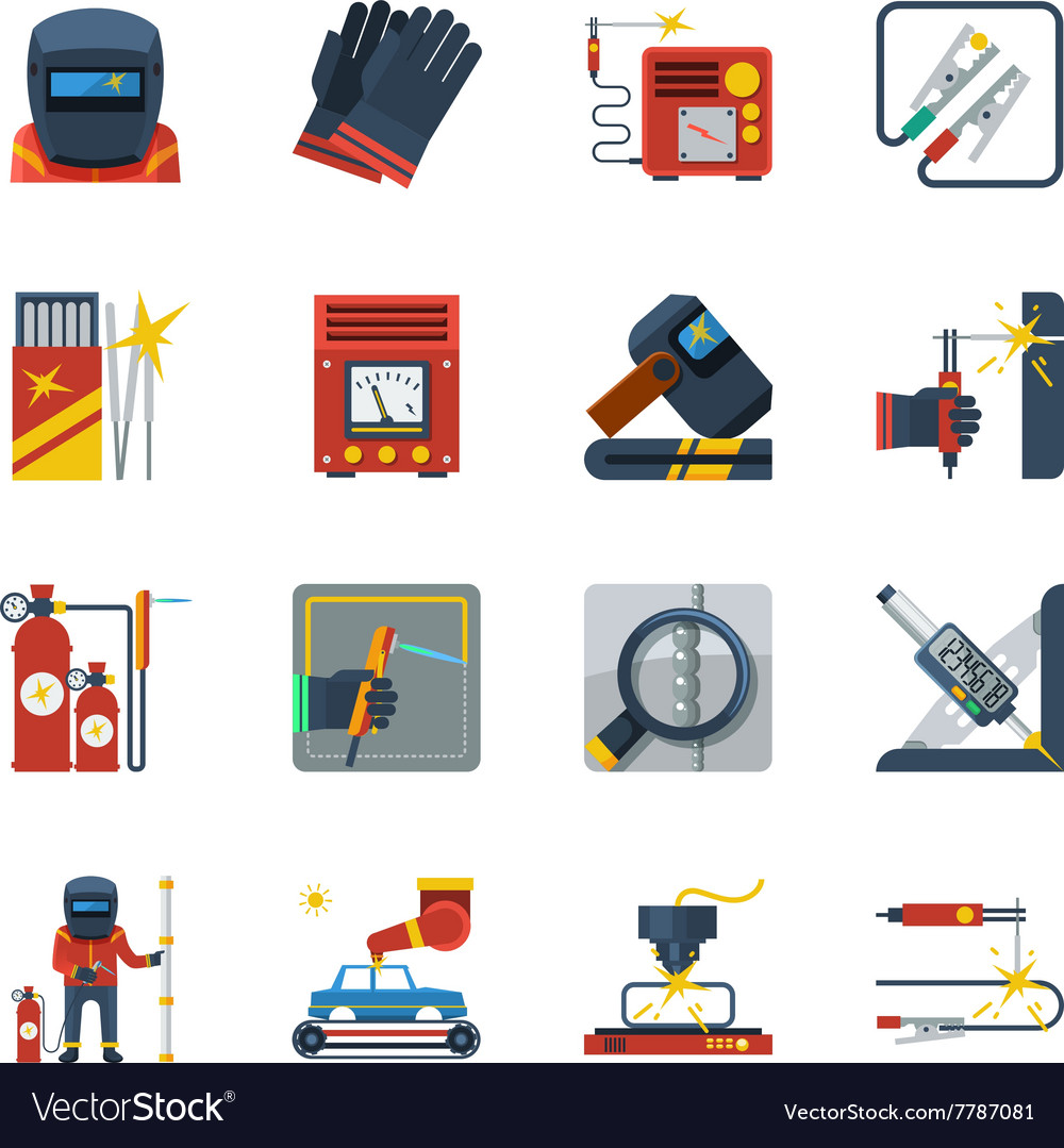 Welding flat color icons vector