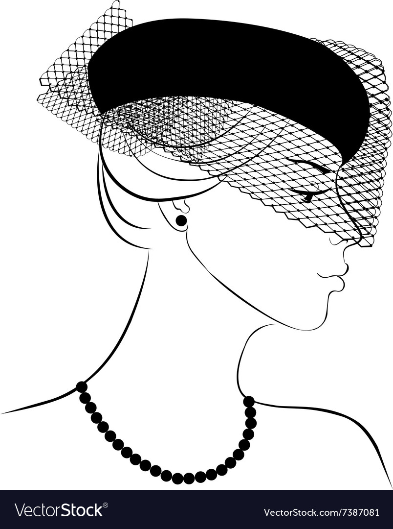 Woman in hat with veil vector