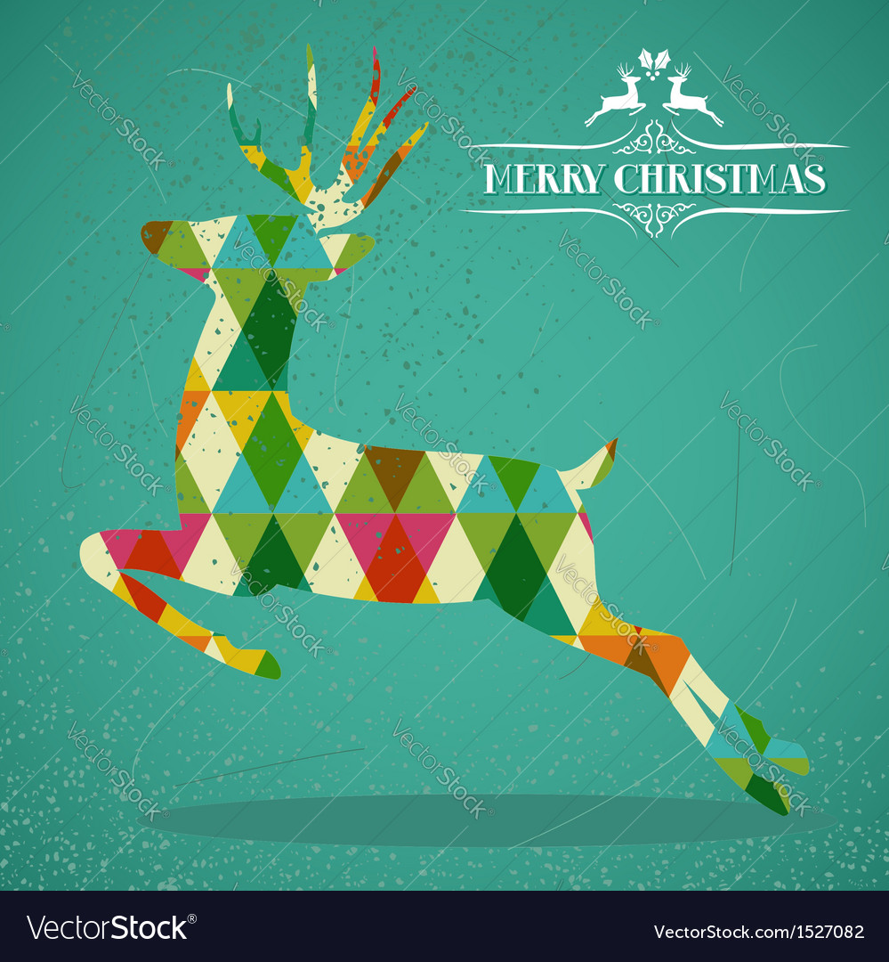 Merry christmas colorful reindeer shape vector