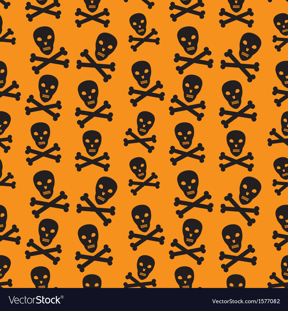 Orange background with skulls vector