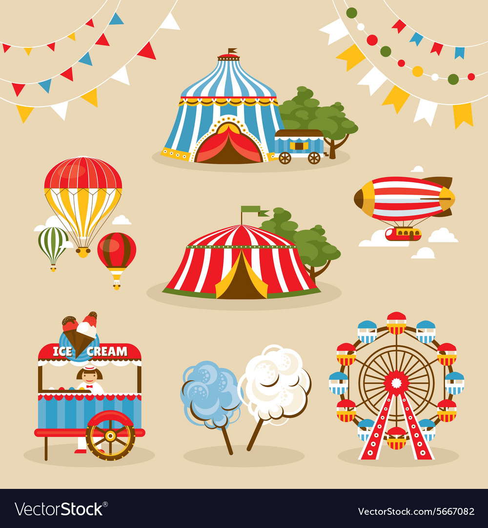 Set of country fair objects vector