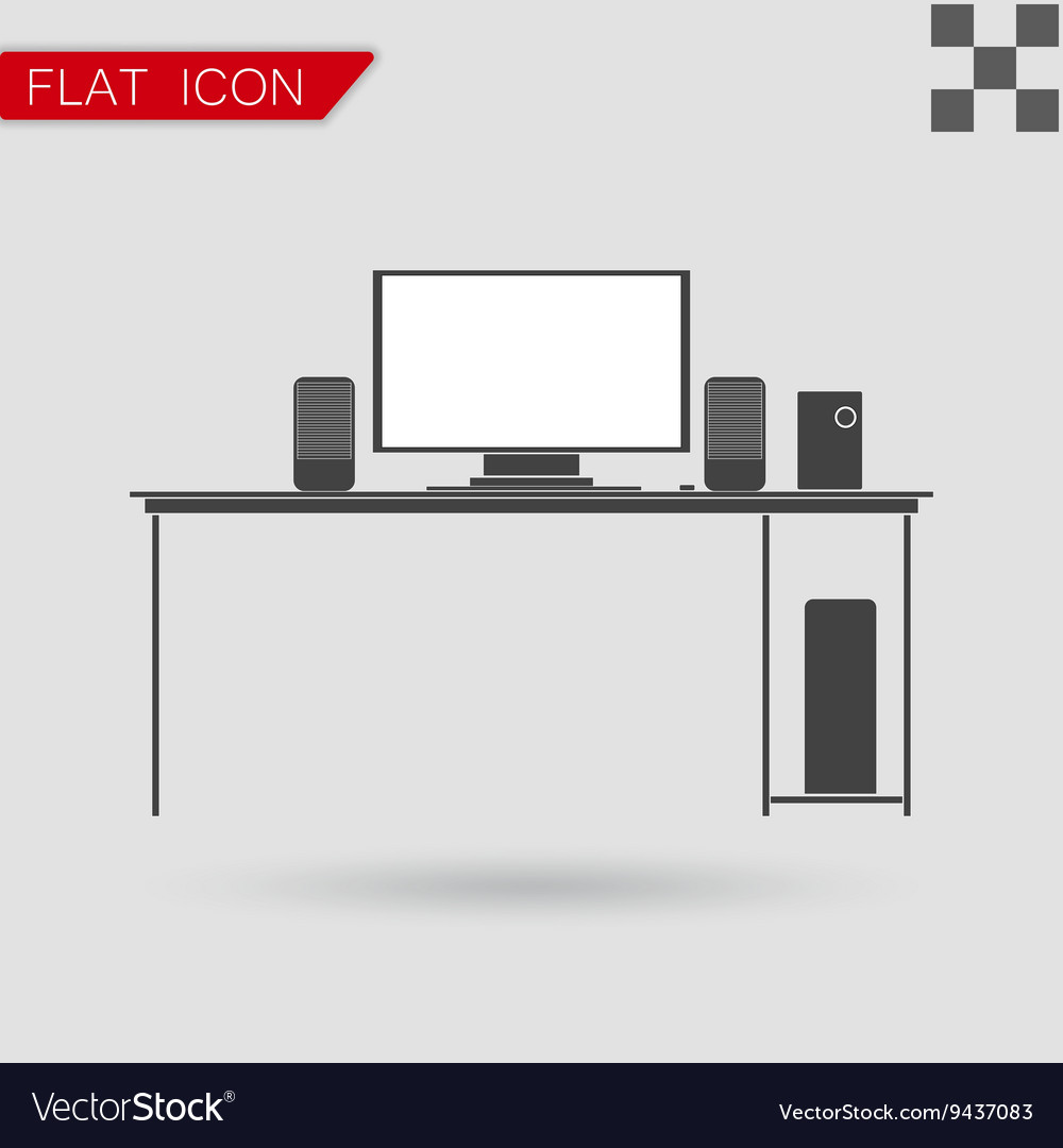 Black icon of desk flat style with red vector