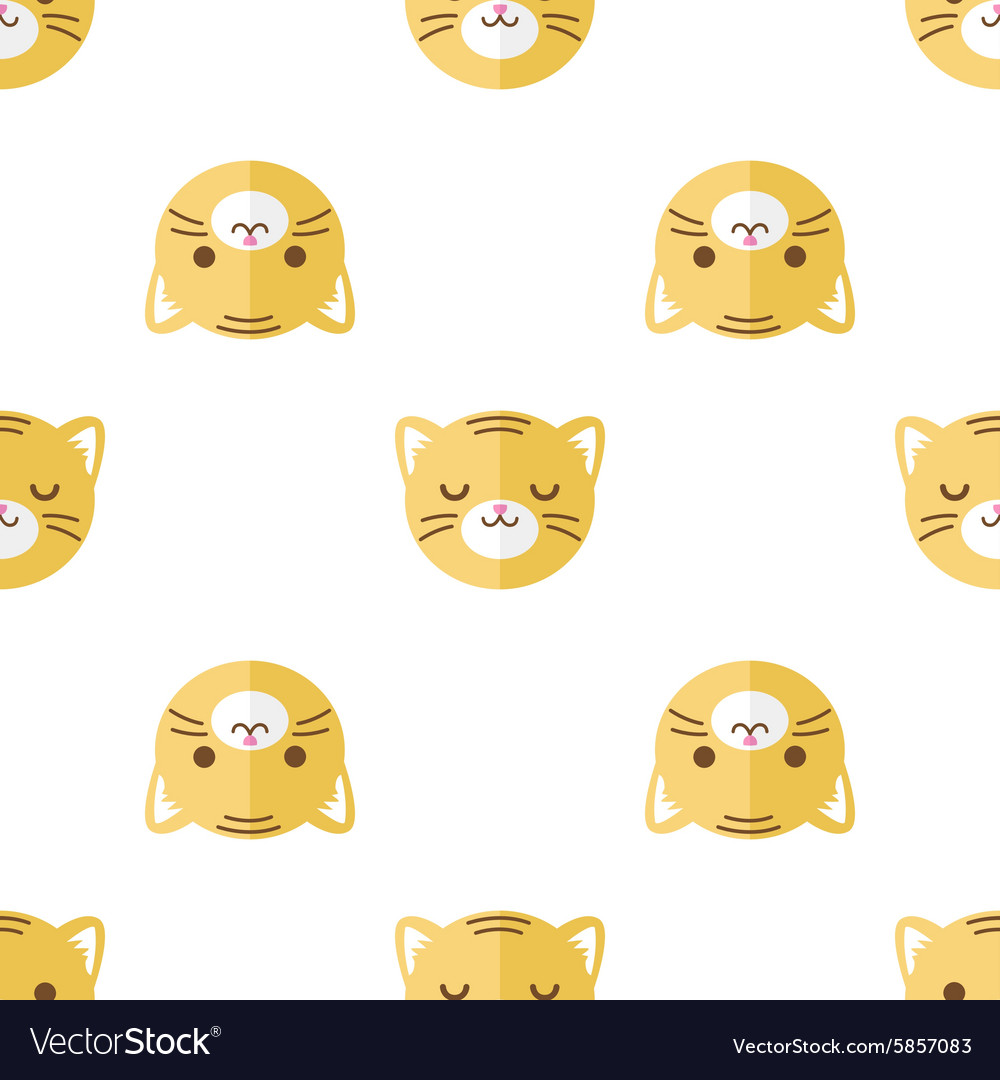 Flat cartoon tiger heads seamless pattern vector