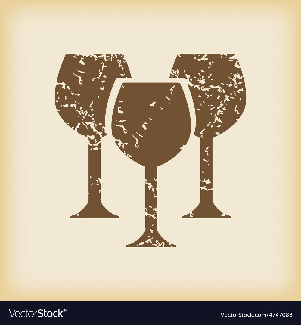 Grungy wine glass icon vector