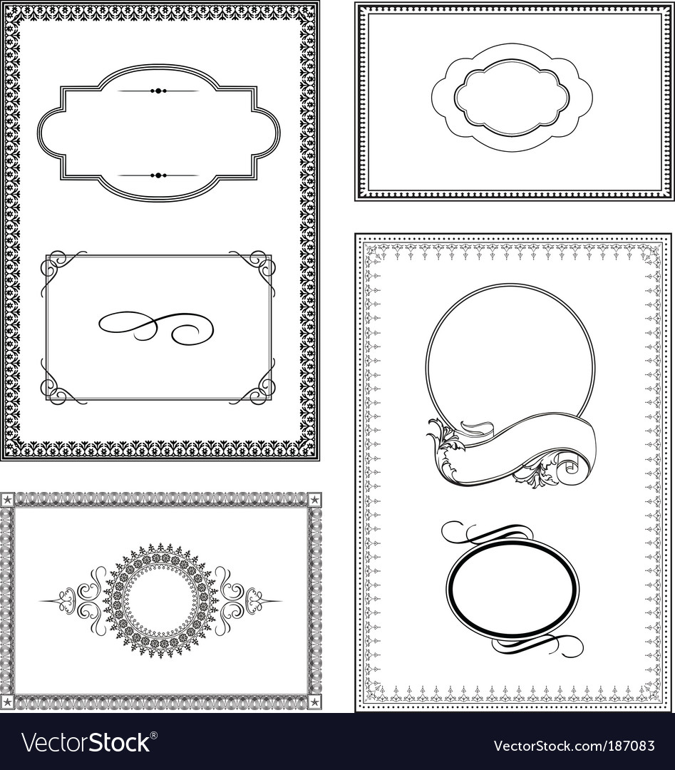 Ornate frame set vector