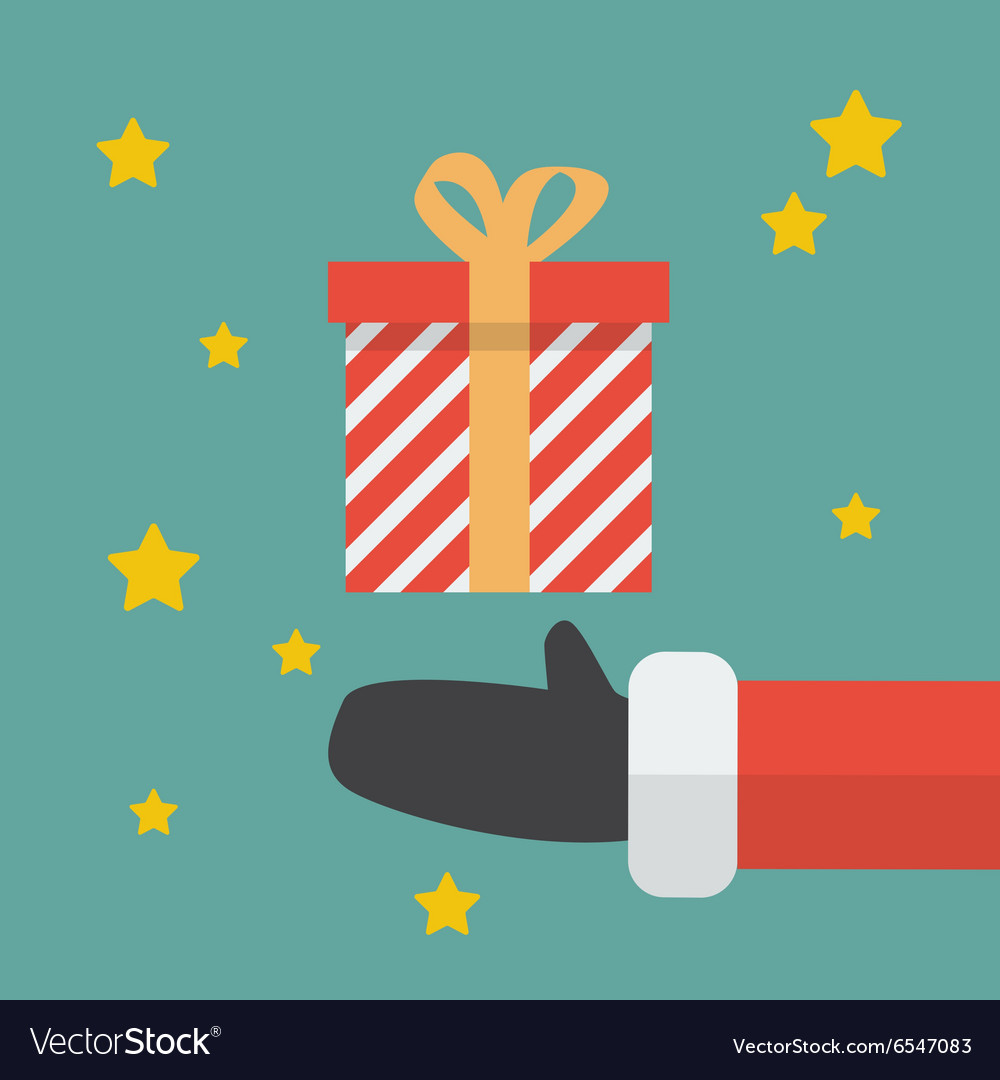Santa hand with christmas gift box vector