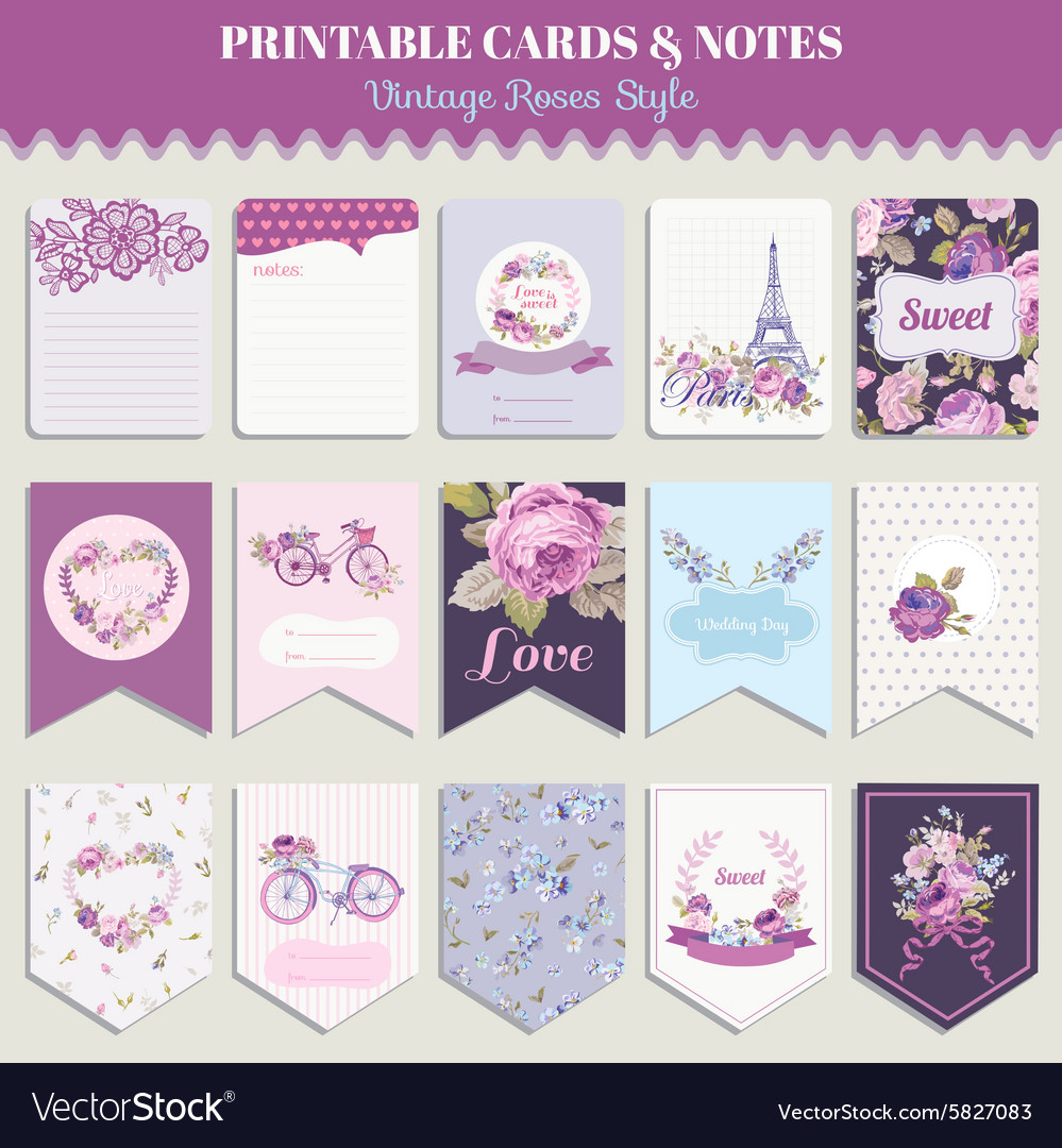Vintage flowers card set  for party design vector