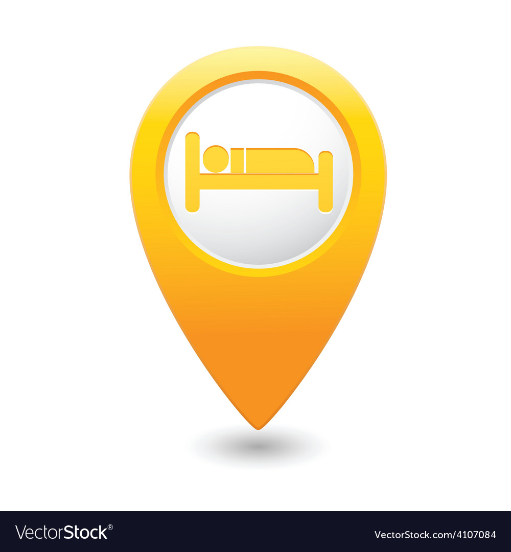 Bed map pointer yellow vector