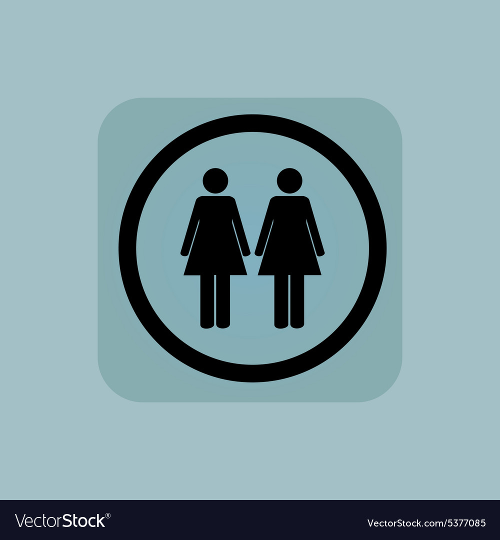Pale blue two women sign vector