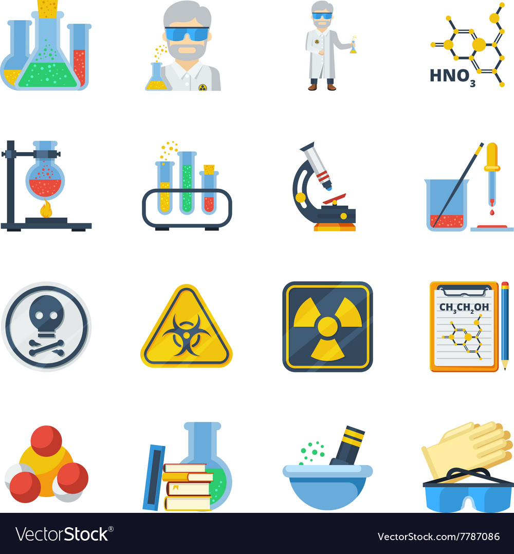 Chemistry flat color icons set vector