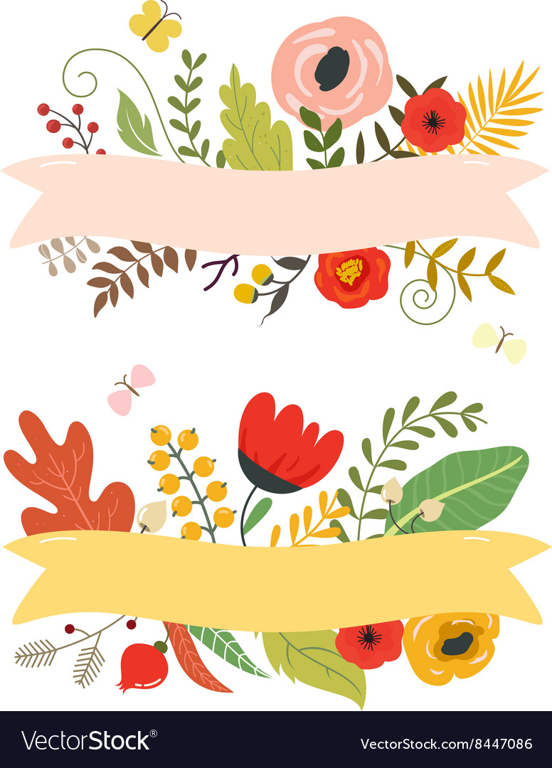 Flowers and leaves floral elements ribbon with vector