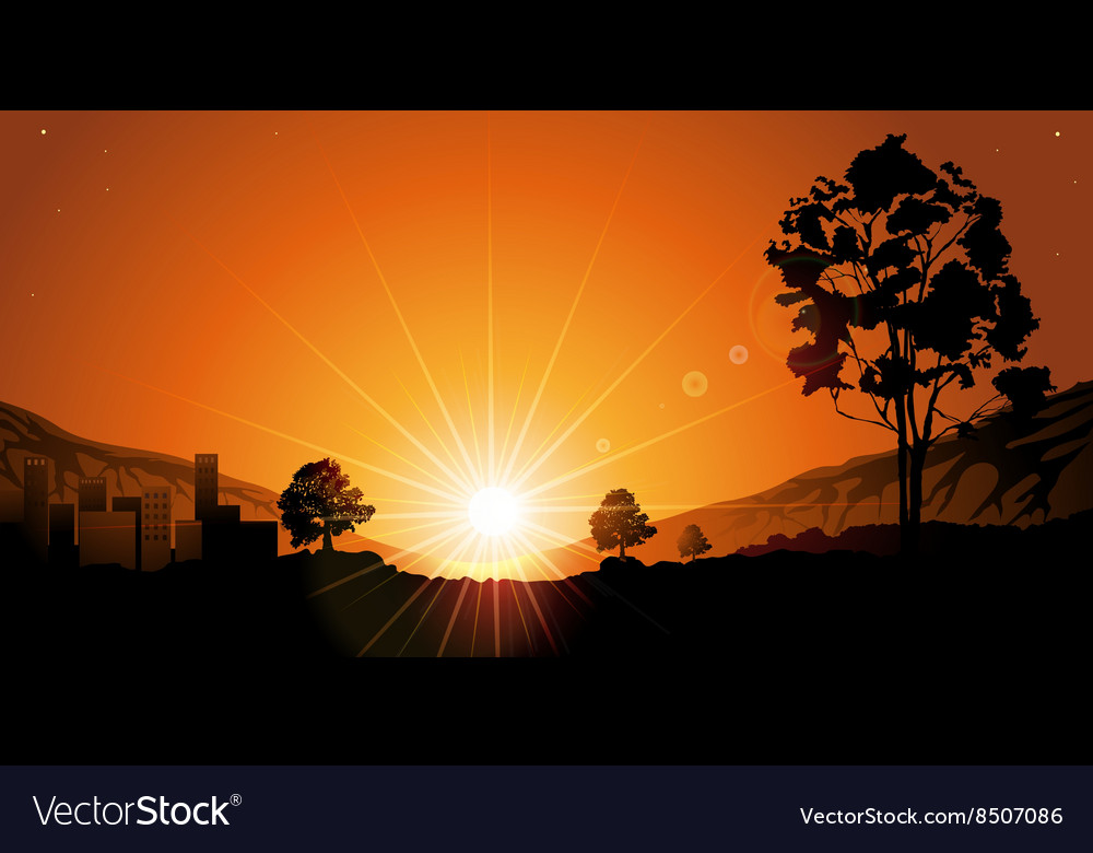 Romantic sunset vector