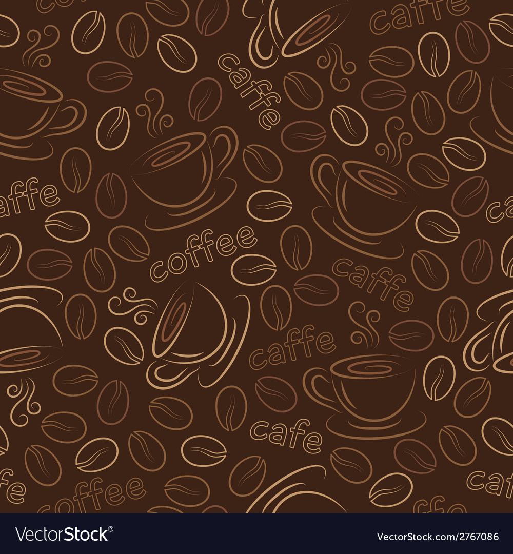 Seamless pattern with cups and coffee grains vector