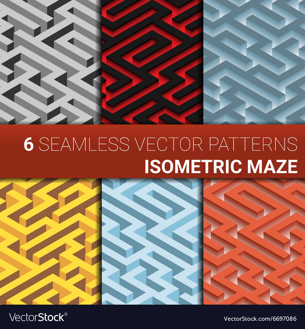 Set of six variants of maze labyrinth  endless vector