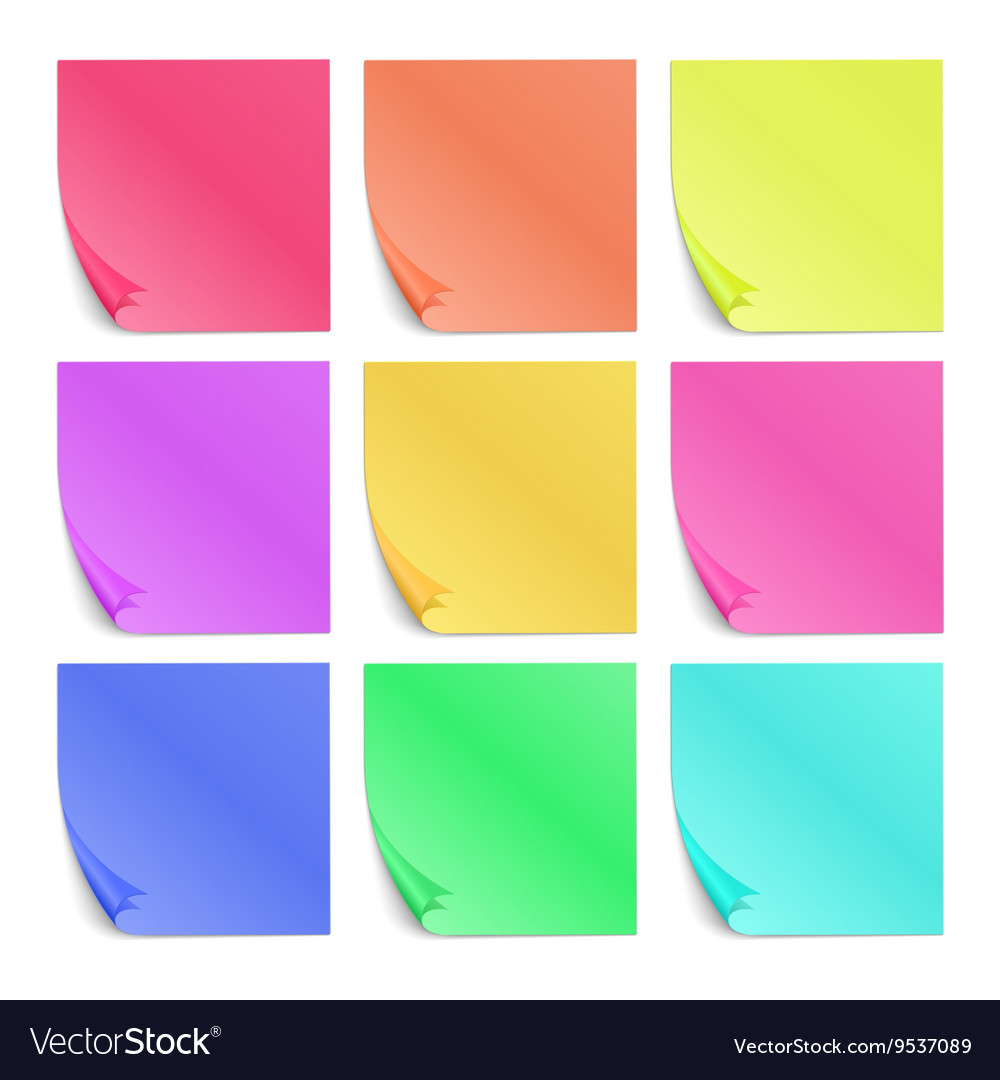 Color post its paper stickers for notes set vector
