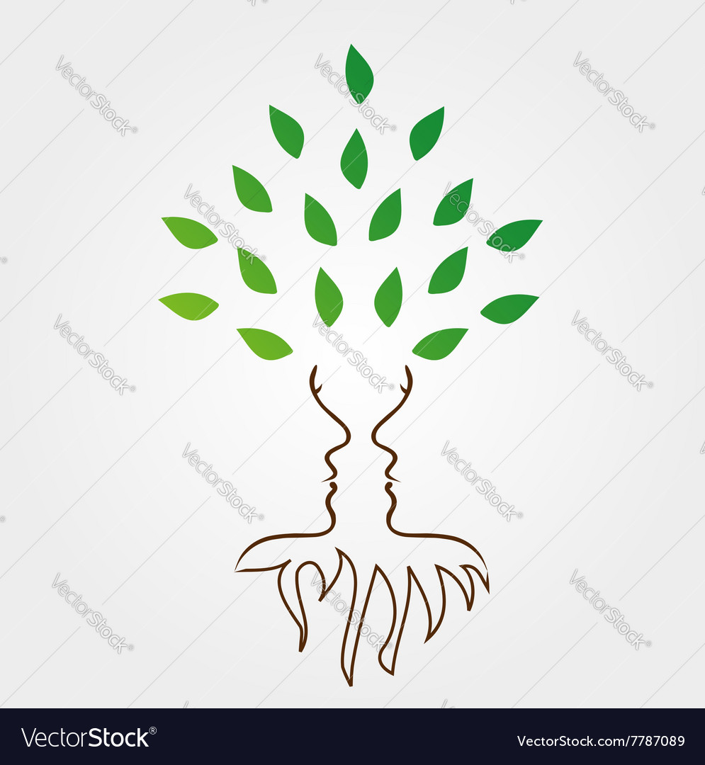 Tree and roots forming the face of a woman vector
