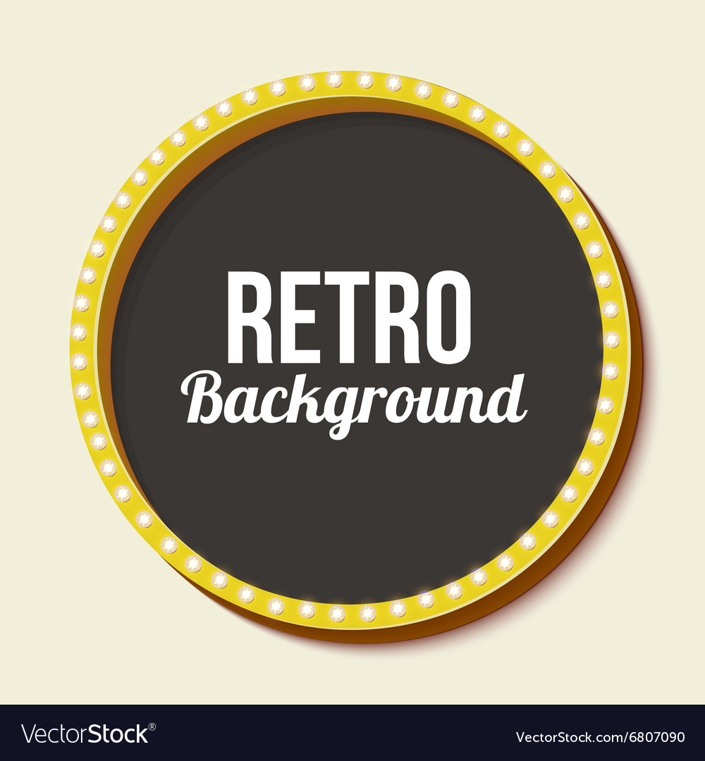 Retro frame circle with neon lights vector