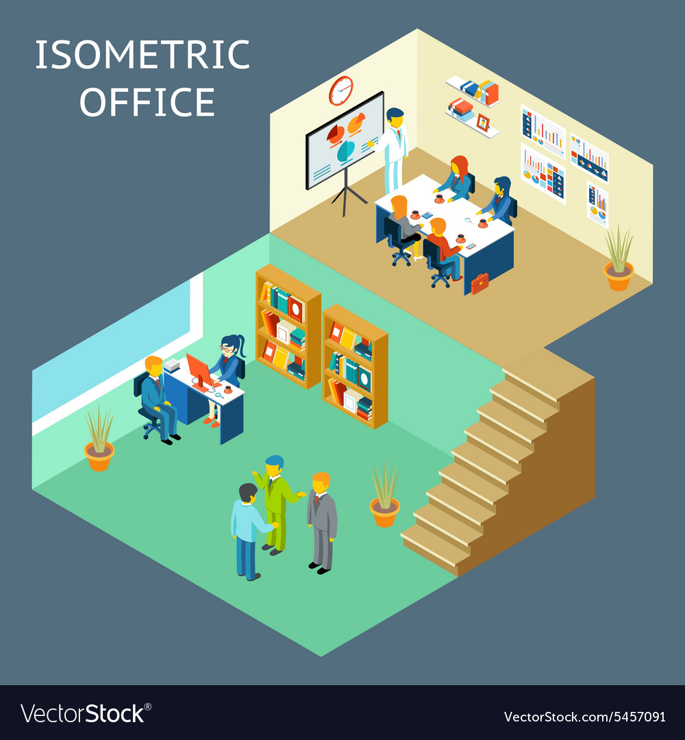 Office work isometric flat 3d about office staff vector