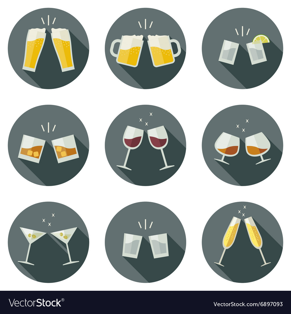 Clink glasses icons vector