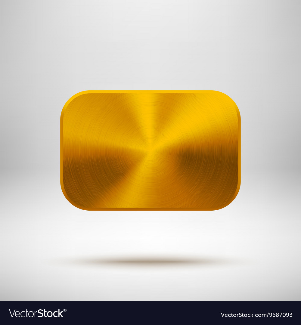 Gold abstract square button template vector