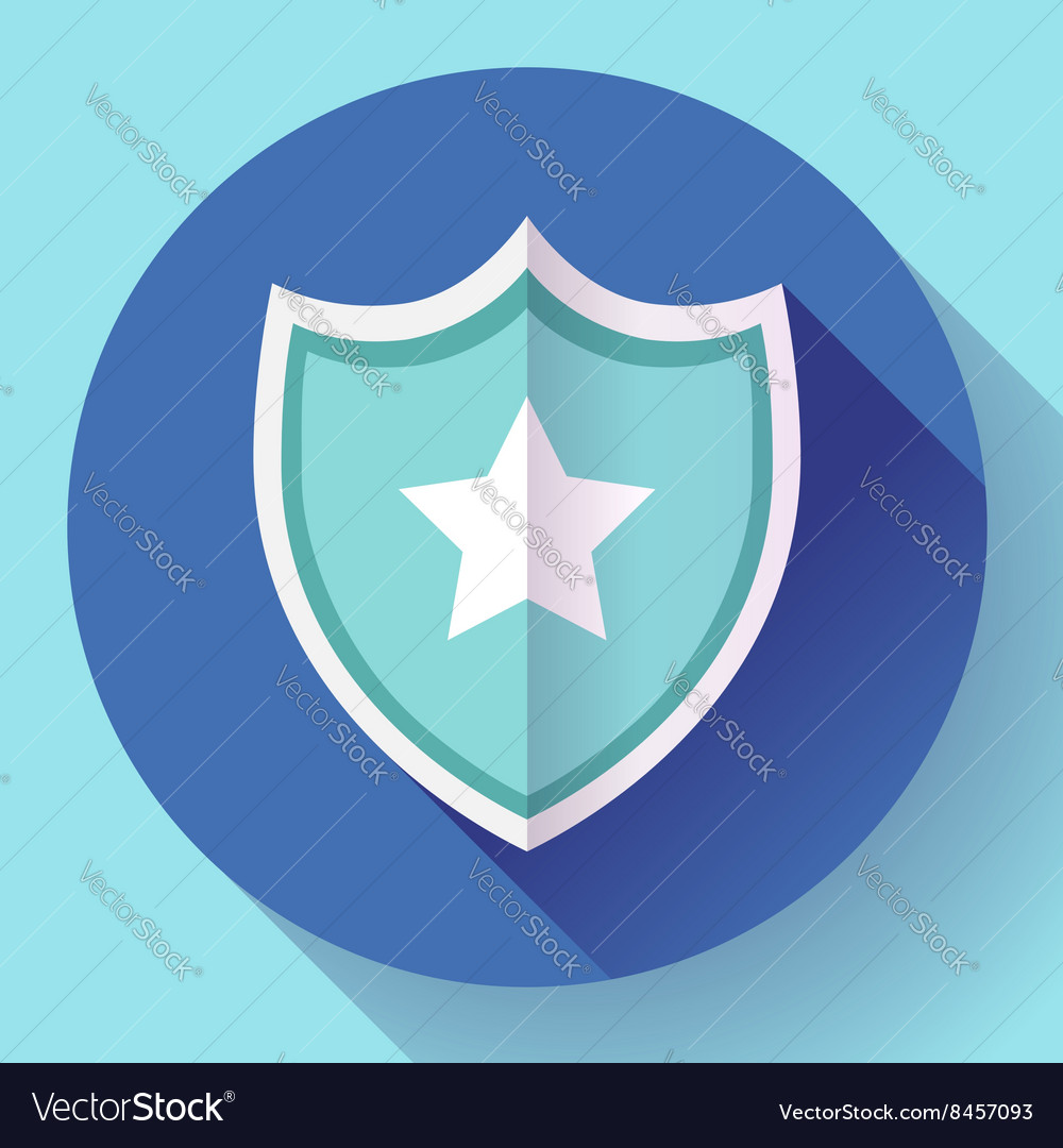 Shield icon with star  protection symbol flat vector