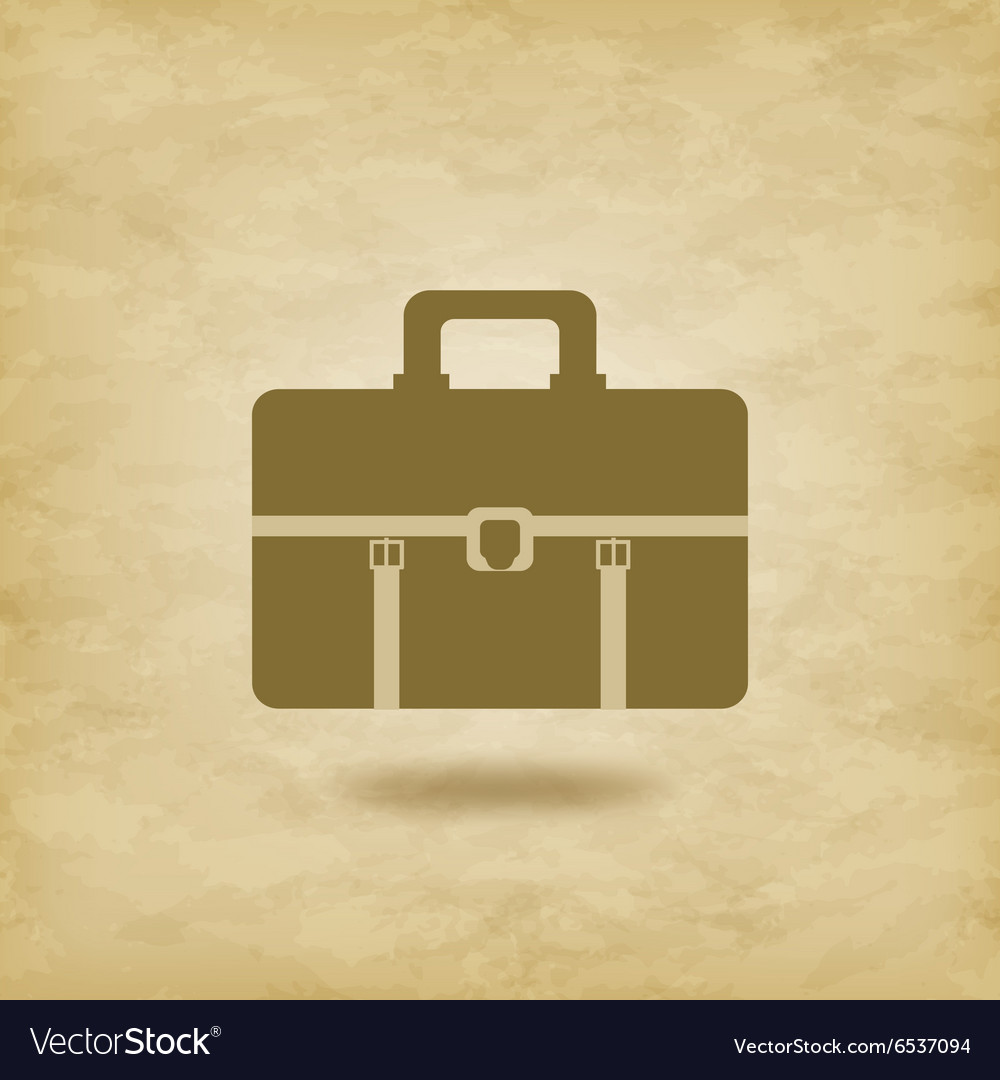 Briefcase icon on grunge background vector