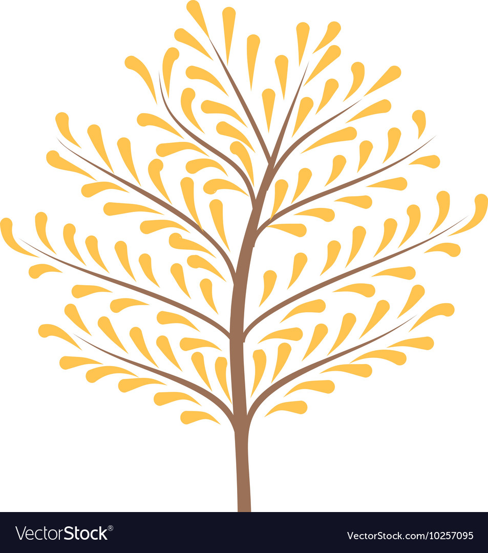 Thin trunk of the tree with leaves logo vector
