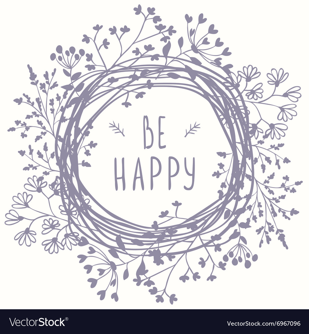 Wreath be happy vector