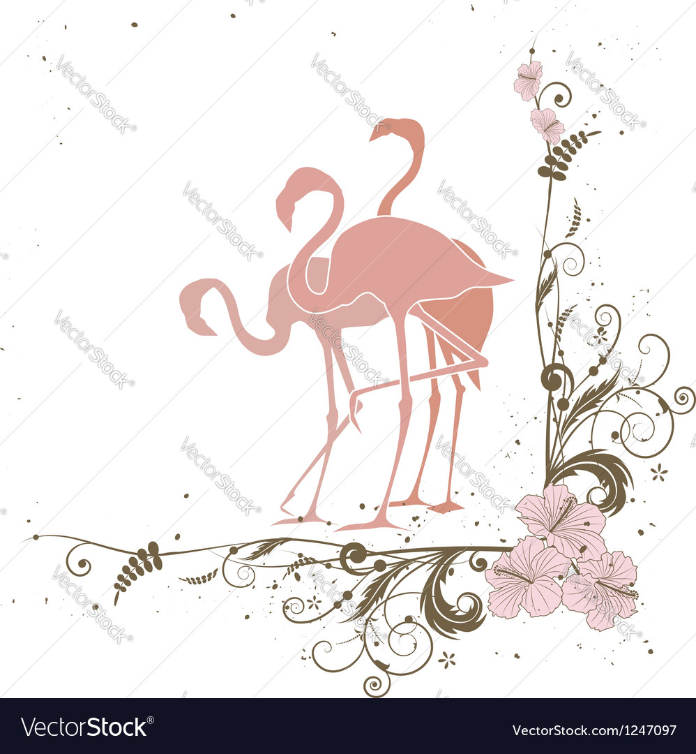 Flamingo and flowers vector