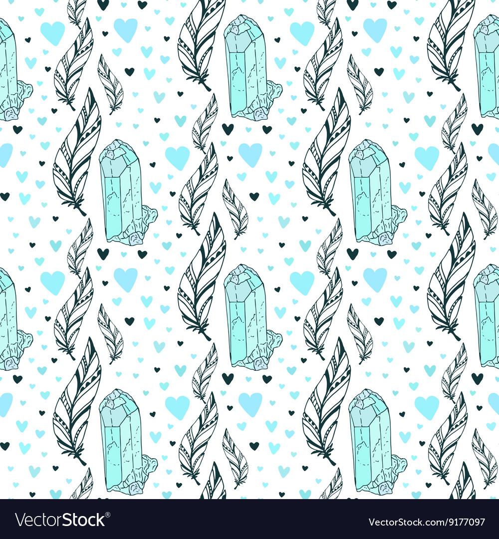 Seamless crystal gems pattern with feathers vector