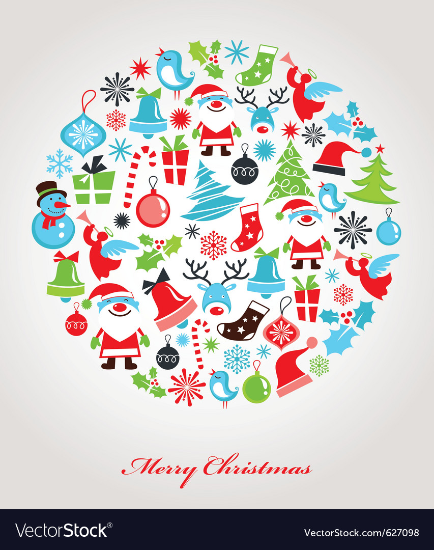 Christmas background with set of icons vector