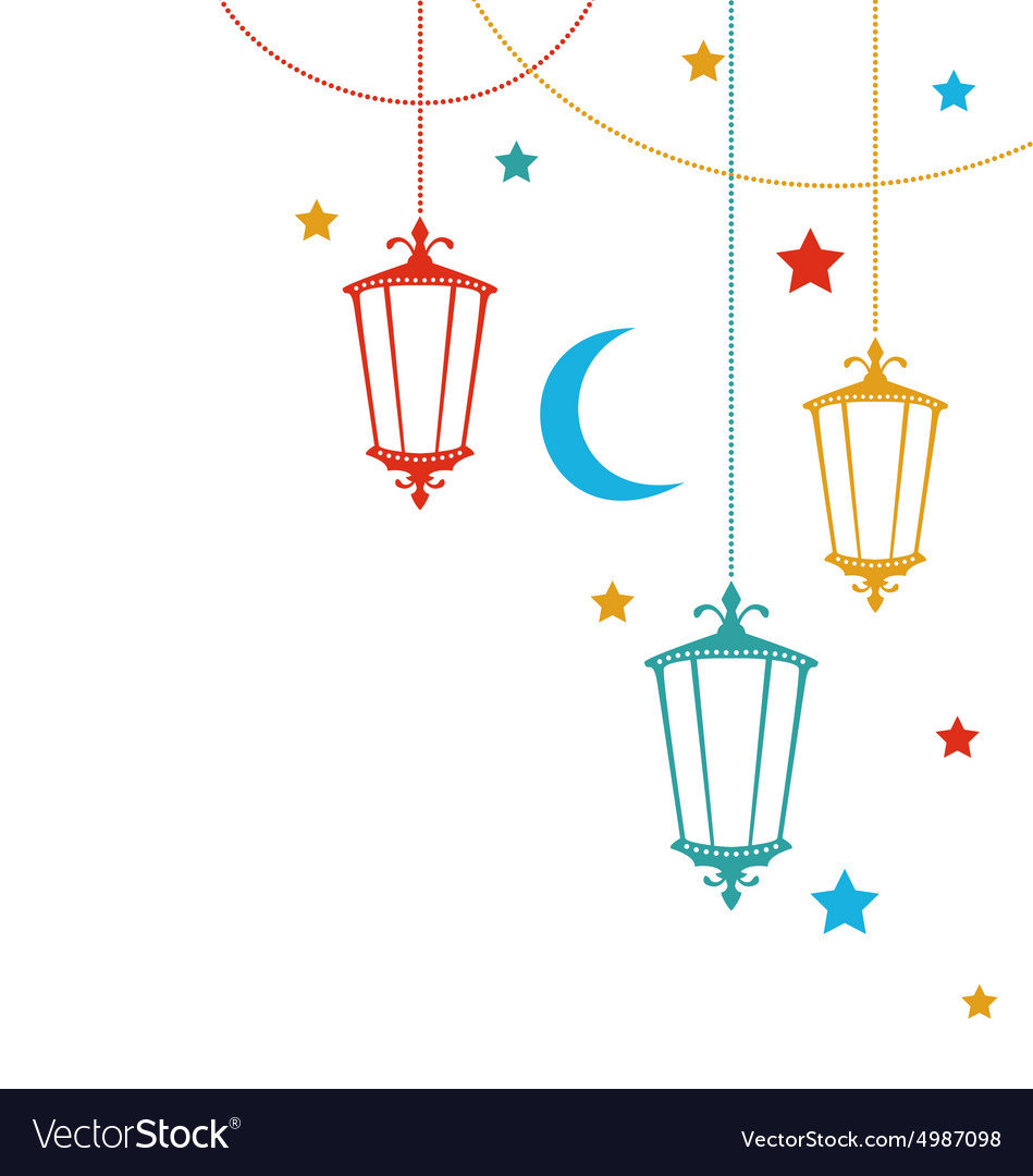 Greeting card for ramadan kareem with lamps vector