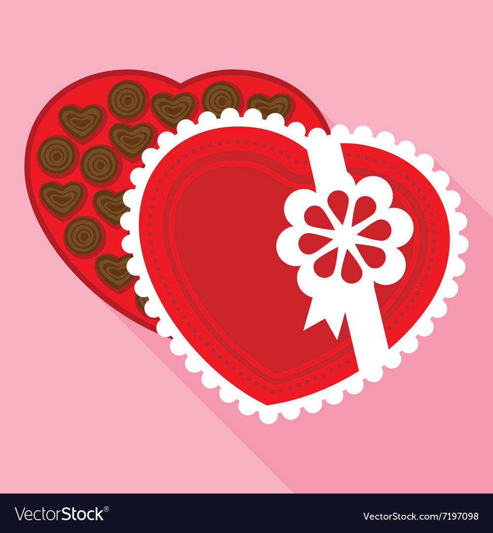 Red box of a valentine chocolate in flat style vector
