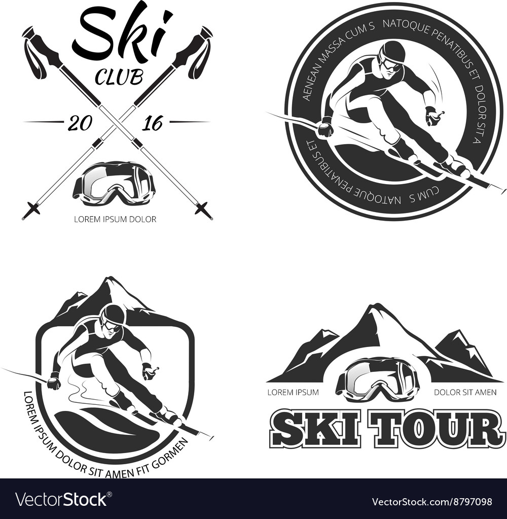 Vintage skiing and winter sports emblems vector