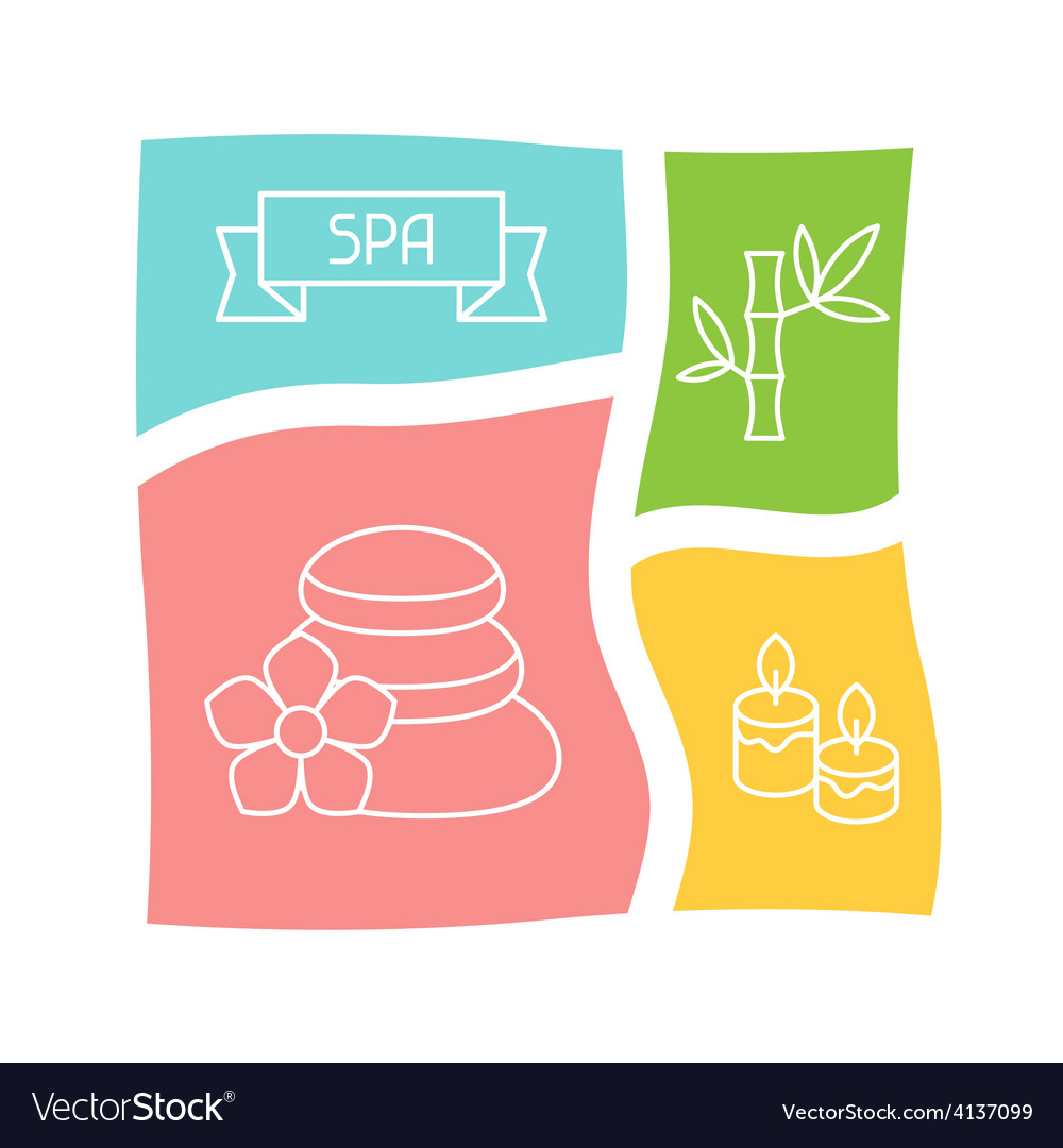 Spa and recreation background with icons in linear vector
