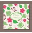 happy birthday card hawaiian pattern on wooden vector image
