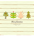 Christmas Card - Christmas Tree on Wooden Backgrou vector image vector image