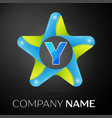 letter y logo symbol in the colorful star on black vector image