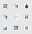 set of 9 board icons includes solution vector image