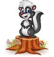 Cartoon funny skunk on tree stump vector image