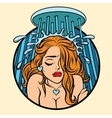 Beautiful retro girl cries in the shower vector image