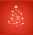 christmas tree with lighting garland christmas vector image