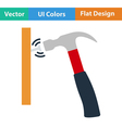 Flat design icon of hammer beat to nail vector image