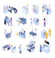 isometric scientific laboratory icon set vector image