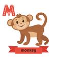 Monkey M letter Cute children animal alphabet in vector image