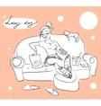Pretty woman on a sofa vector image