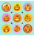 Set of nine icons pumpkin with different face vector image